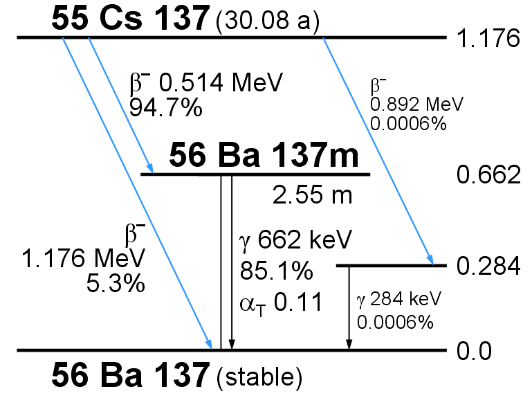 Схема распадов Cs-137.